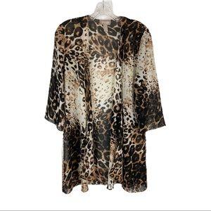 CHICO'S Animal Print Kimono Leopard Print Top